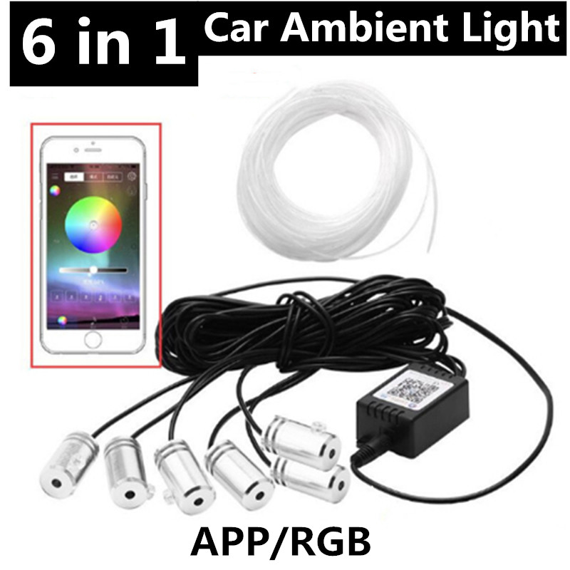 6 In 1 RGB LED Strips Ambient Light APP Bluetooth Control For Car Interior Atmosphere Light Lamp DIY Music Fiber Optic Band