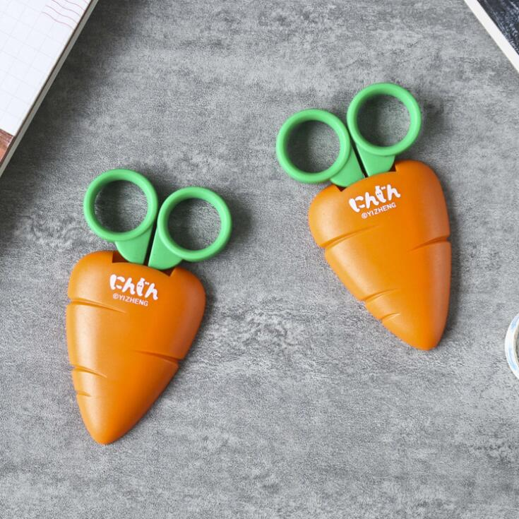 2020 New Office Culture And Education Carrot Student Scissors Cartoon Cute Round Head Hand Paper Cutter