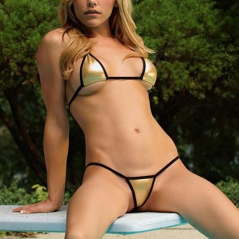 Hot Girls Golden Micro Bikini 2PCS G-String Bikini Sexy Thong Biquinis Swimsuit Beachwear Multi Color Bathing Suits