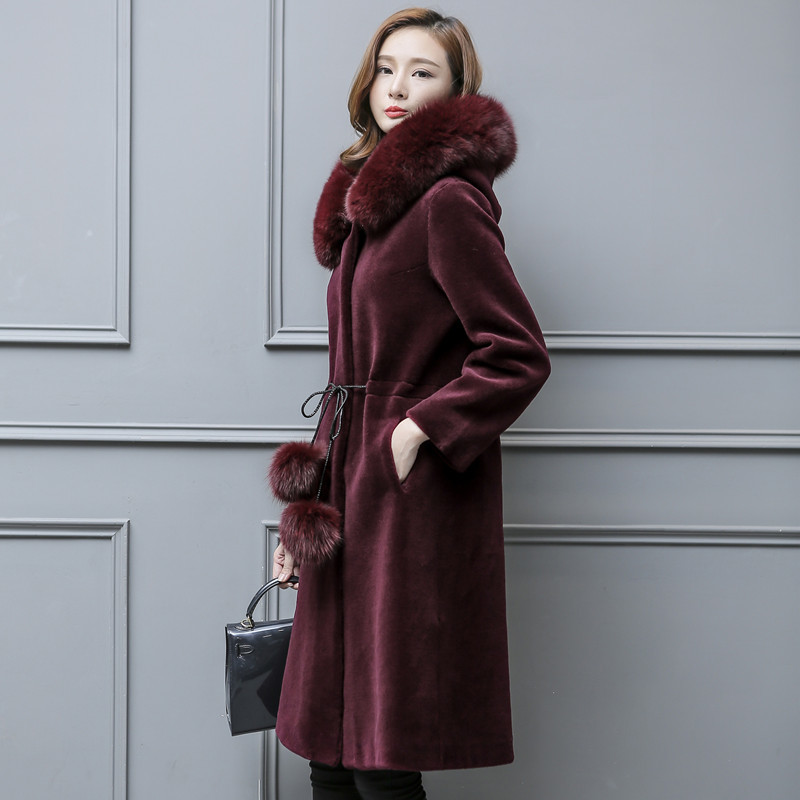 Sheep Shearing Coat 2020 Plus Size Real Fur Coat Women Winter Warm Long Hood Parka Real Fox Fyr Collar Female Wool Jacket LX2474
