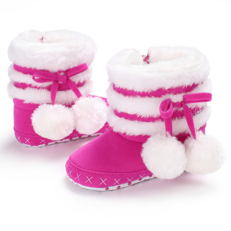 Girls Snow Boots 2019 Winter Comfortable Thick Warm Baby Boots Lobbing Ball Thick Newborn Cute Princess Shoes