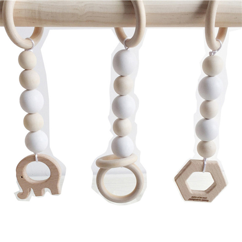 3 PCS Nordic Natural Wood Bead Garland Kids Baby Nursery Room Decor Baby Shower Bunting Ornament Hanging Wall Decor Tent Bed Mat
