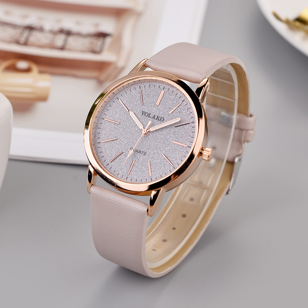 YOLAKO Sticker Wrist-Watch Wall-Clock Leather Strap Quartz Kol Modern-Design Casual Women's title=