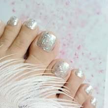 24 шт Искусственные накладные ногти для пальцев ног голографической