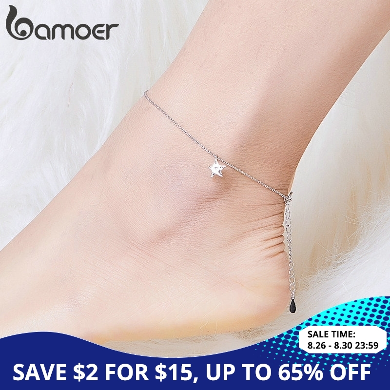 bamoer Simple Design Star Silver Anklet for Women Sterling Silver 925 Bracelet for Ankle and Leg Fashion Foot Jewelry SCT009 necklace