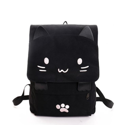 Sac à dos en toile de chat mignon | Sac à dos brodé pour adolescentes, sac d'école décontracté en impression noire, sac à dos mochilas, 2019