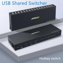Splitter-Box KVM Keyboard Printer Video-Display Sharing USB for 16-Pc Mouse 4K Usb-2.0