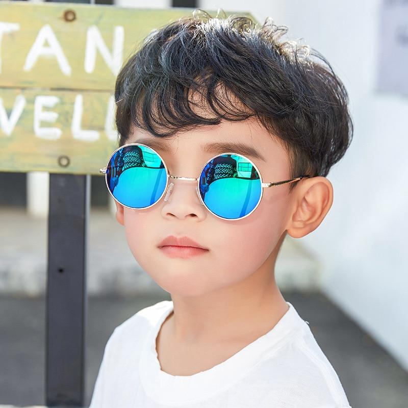 AOXUE Round Sunglasses Goggles Mirror Frame Classic Black UV400 Kids Children Brand Gifts