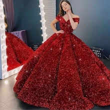 Ball-Gown Evening-Dresses Formal Women Luxury Sequin Party Elegant Long Night-Off-The-Shoulder-Robe-De-Soiree