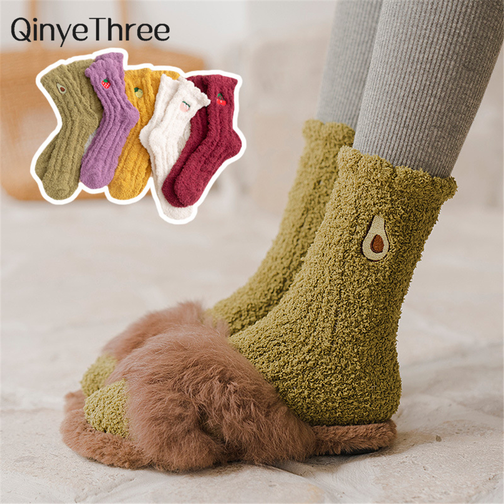 Women's Winter Embroidery Fruit Plush Warm Sleep Socks Avocado Strawberry Peach Cherry Pear Bed Indoor Loose Coral Fleece Gift