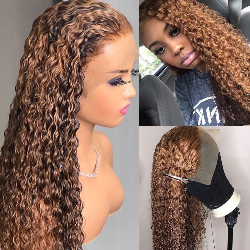 Highlight Ombre 180% Density Curly Lace Front Human Hair Wigs Pre-Plucked Remy Lace Wig With Baby Hair For Women Bleached Knots