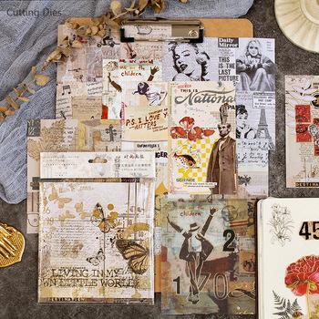 15 arkuszy partia Vintage Flower Vellum papier samoprzylepny tło naklejki do scrapbookingu DIY papier dekoracyjny rzemiosło tanie i dobre opinie Cutting dies vellum paper