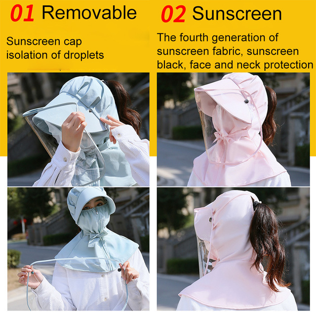 Protective Face Mouth Mask Particulate Respirator UV Protect Hat Mask Splash Prevents Saliva Transmission Windproof Sand Mask 4