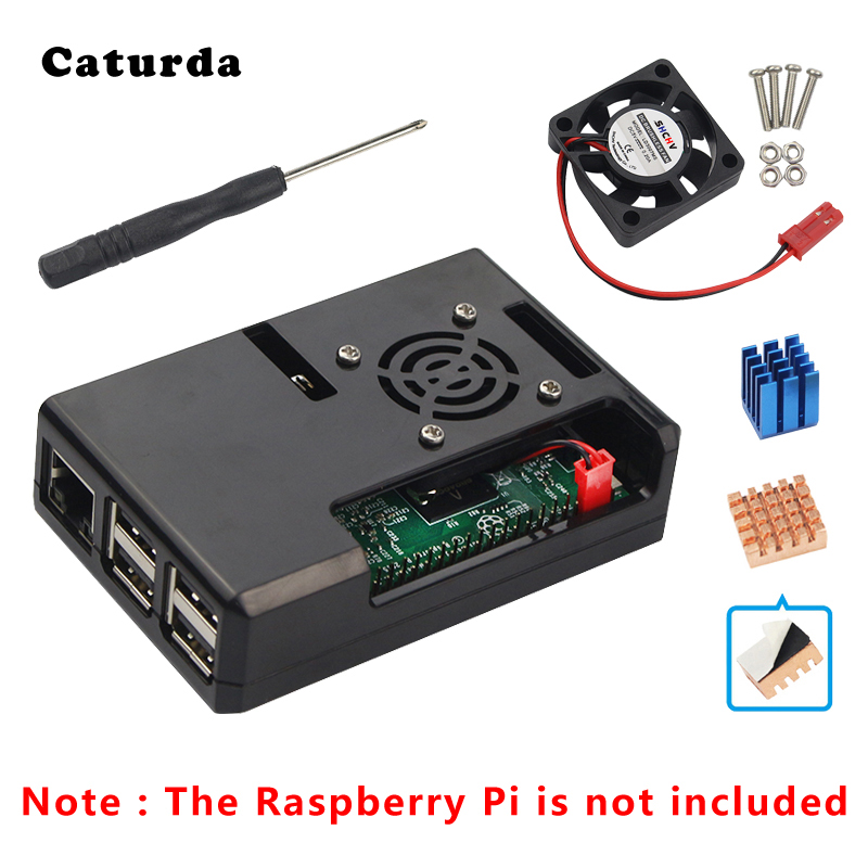 For Raspberry Pi 3 Case ABS Case Box Carcasa Raspberry Pi 3B Enclosure With Cooler Fan Heat Sink For Pi3 B Plus Cover