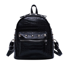 new women fashion rivet simple flap luxury Crocodile pattern backpack women bags designer travel bag black brown