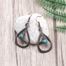 цена на Ethnic Verdigris Patina Plated  Antique Copper Water Drop Charm Earring Stone Beads Dangle Earring Women Bohemia Jewelry
