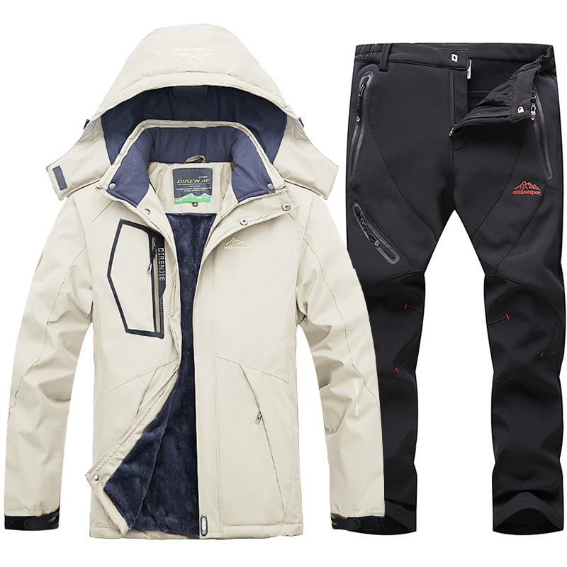 Ski Suit for Men Windproof Waterproof Warm Thicken plus velvet Jackets and Pants Male Winter Mountain Skiing Snowboarding Coats