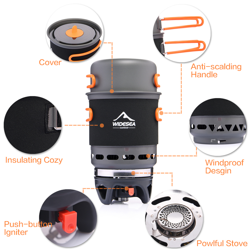 Widesea Camping Stove Outdoor Cookware Cooking Systerm Pot Pan Propane Gas Burner in Outdoor Stoves from Sports Entertainment