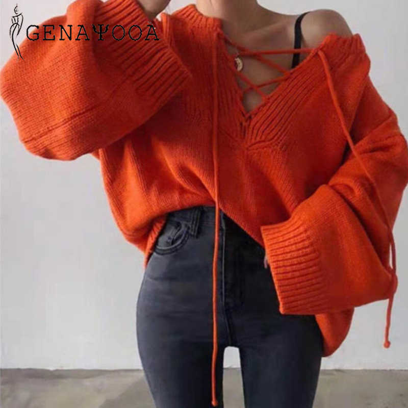 Genayooa Winter Sweaters Hoodies 2019 Sexy Cashmere Pullover Women Lace Up V Neck Long Sleeve Jumper Ladies Loose Tops Female