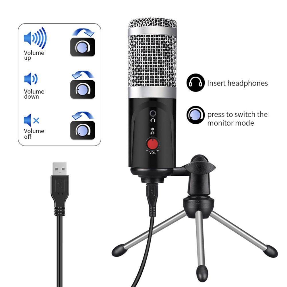 Kondenzátorový mikrofon počítač USB port studiový mikrofon pro - Přenosné audio a video