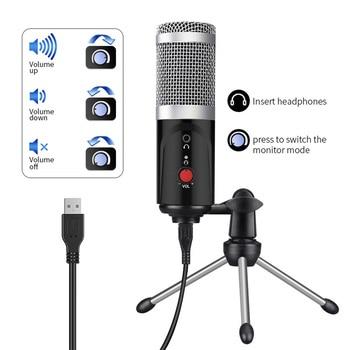 콘덴서 마이크 컴퓨터 USB 포트 스튜디오 마이크 PC 사운드 카드 전문 가라오케 마이크 DJ 라이브 녹음