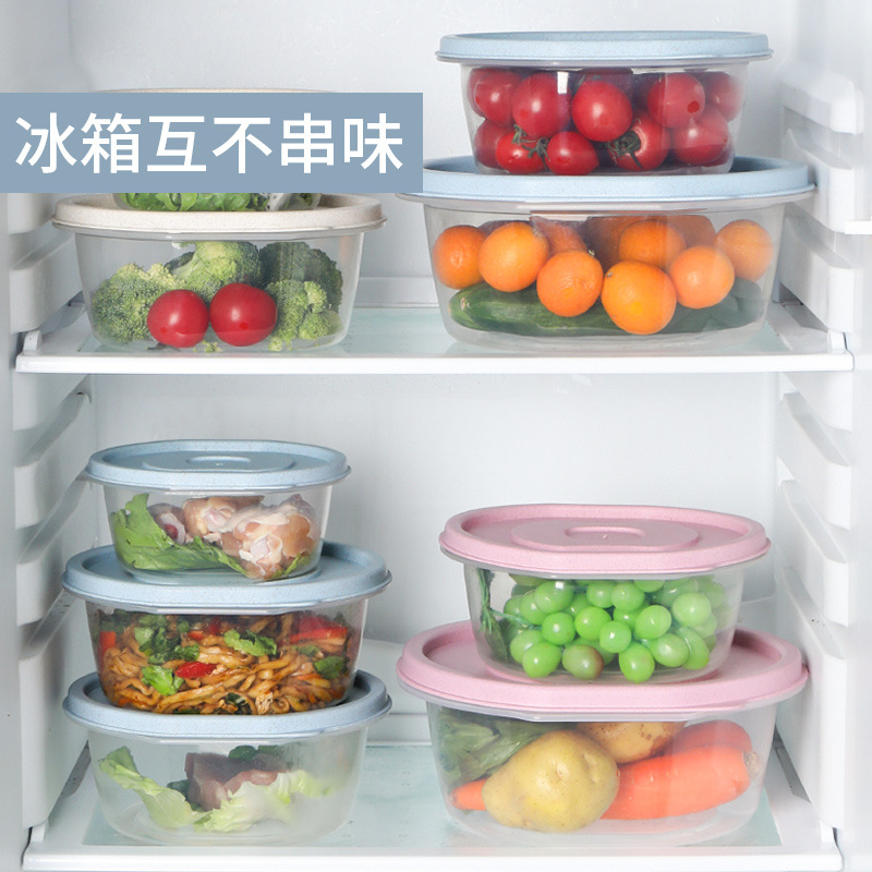 3-Pack Preservation Box Kit Plastic Household Circle Portable Lunch Box Large Capacity Refrigerator Storage Box