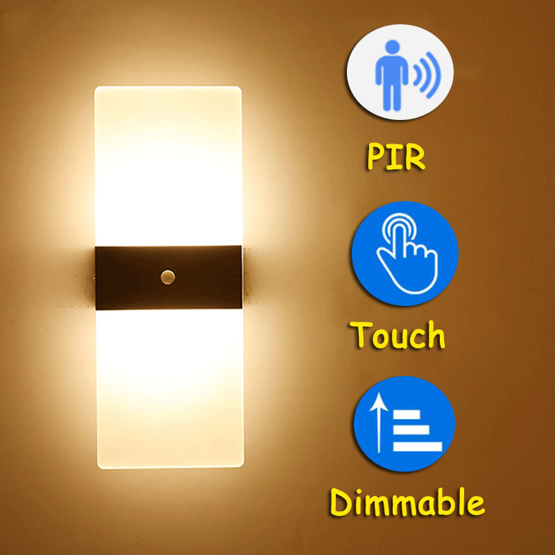 LED Fashionable PIR Sensor Wall Lamp Bedroom Bedside Stairs Corridor Simple Touch Wall Light 110V 220V Decorative Wall Light