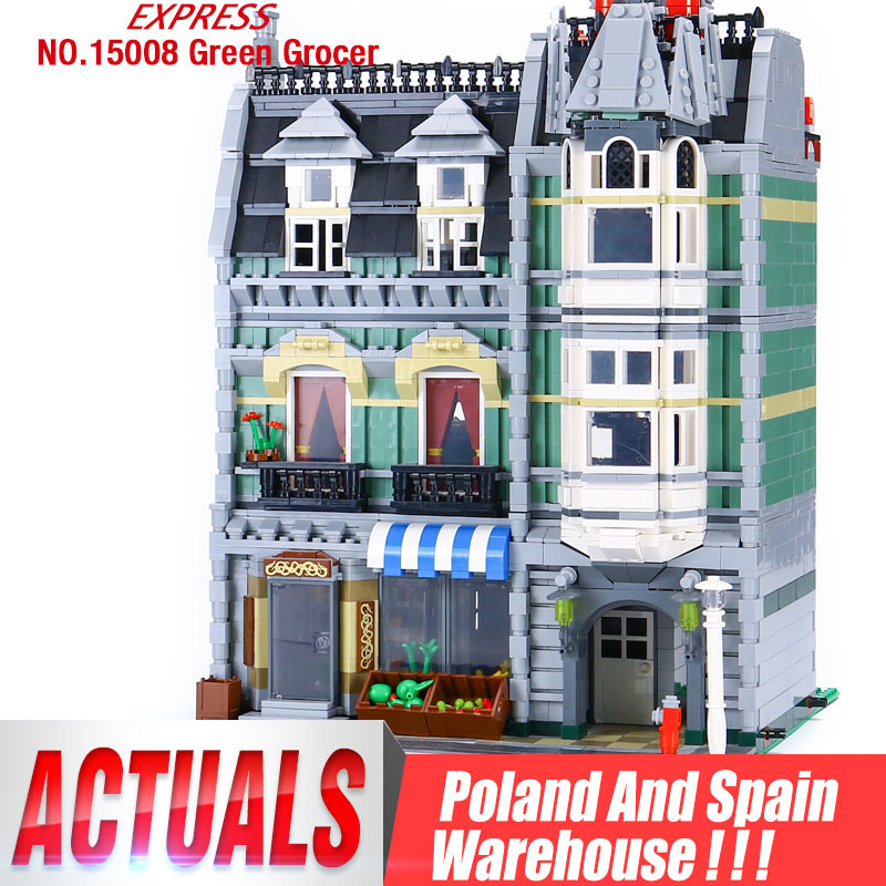 DHL 15008 2462Pcs City Street Green Grocer Model Building Blocks Bricks Children Toy compatible 10185 Toys House Model|compatible lego|lego stock|green grocer - title=