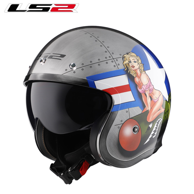 New LS2 ECE OF570 Open Face Auto Motorcycle Helmet Old Locomotive Retro Helmet