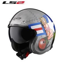 цена на LS2 OF599 Spitfire open face Vintage helmet  Motorcycle half 3/4 helmet casco moto vintage ECE approval size M-XXXXL