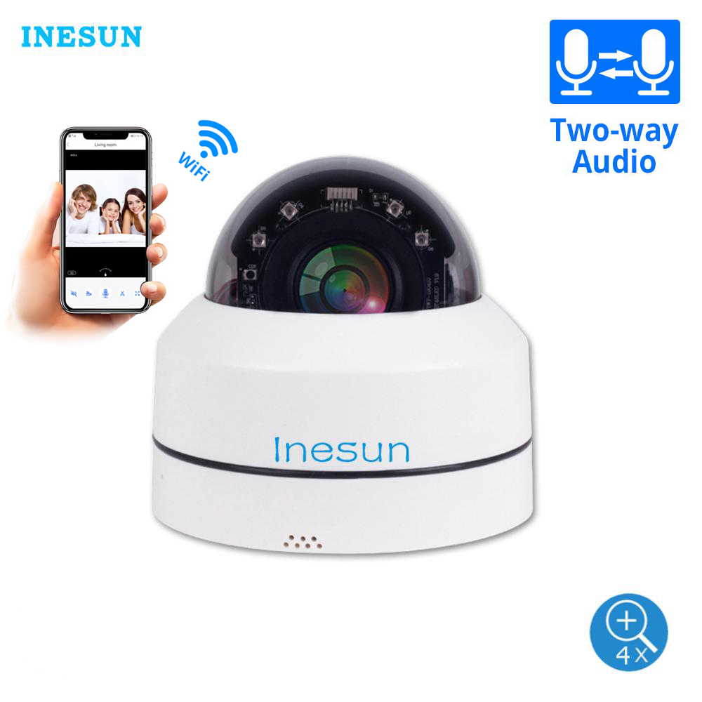Inesun Mini WiFi Security Camera Pan Tilt 4x Zoom PTZ Camera Indoor/Outdoor WiFi IP Dome Camera 100ft Night Vision Two Way Audio
