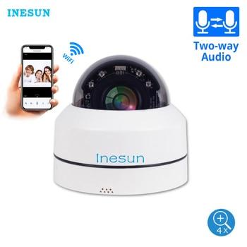 Inesun Mini WiFi Security Camera Pan Tilt 4x Zoom PTZ Camera Indoor/Outdoor WiFi IP Dome Camera 100ft Night Vision Two Way Audio