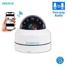 Inesun mini câmera de segurança wifi, filmadora panorâmica com zoom de 4x, ptz, área interna/externa, wi fi, ip dome, 100ft para noite áudio bidirecional visão dupla