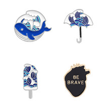 Fashion Kartun Biru Gelombang Laut Jantung Bros Enamel Sea Whale Ice Cream Manusia Kerah Pin Lencana Jaket Denim perhiasan(China)