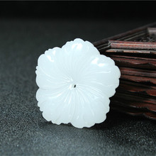 Flower Natural White Jade Pendant Necklace Chinese Hand-Carved Charm Jewelry Fashion Accessories Amulet for Men Women Gifts 1pc fashion chinese green jade cross pendant necklace hand carved charm jadeite natural jewelry amulet for men women gifts white