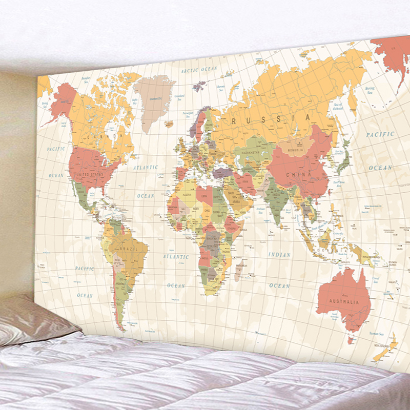 Retro World Map Wall Hanging Tapestry Sleeping Pad Wall Tapestry Art Round Towel Beach Blanket Decor 230x180 Tapestry