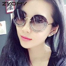Q diamentowe unikalne okulary okrągłe okulary akcesoria luksusowe bezramowe damskie okulary przeciwsłoneczne tanie tanio zyomy CN (pochodzenie) WOMEN ROUND Dla dorosłych Z tworzywa sztucznego NONE UV400 Gradient F500326