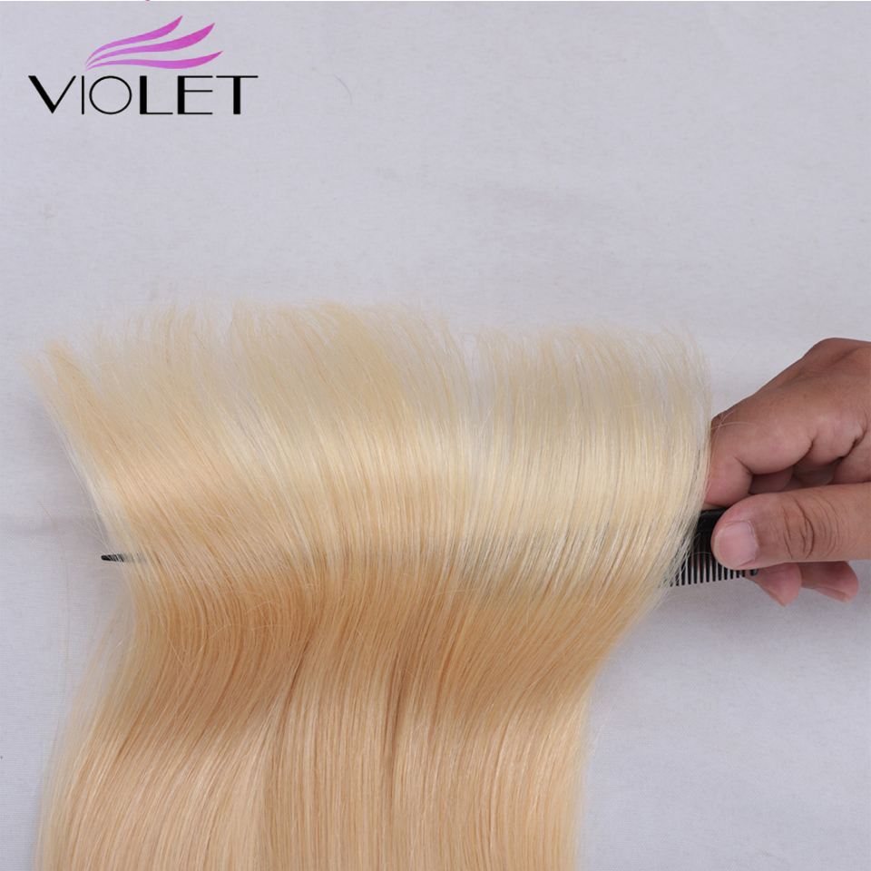 VIOLET Straight 613 Blonde bundle Brazilian non-remy Human Hair Weave 8