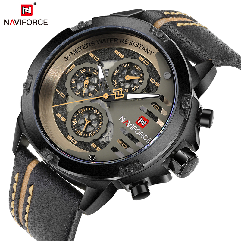 <font><b>NAVIFORCE</b></font> Mens Watches Top Brand Luxury Sport Waterproof Military Wrist Watch Man Clock Male Leather Casual Relogios Masculinos image