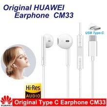 Original huawei cm33 fone de ouvido usb tipo-c no ouvido fone de ouvido fone de ouvido microfone volume huawei companheiro 10 pro 20 x rs p20 30 p40 honra 7 8 v8