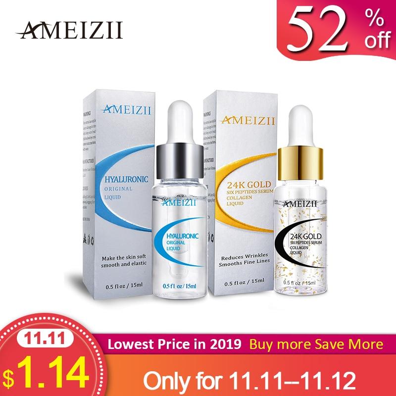 AMEIZII 24K Gold Six Peptides Hyaluronic Acid Serum Moisturizing Anti Wrinkle Whitening Skin Care Repair Essence Suero facial-in Serum from Beauty & Health