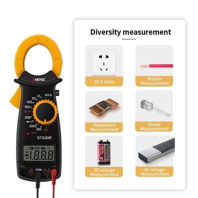 Multimètre dappareil de contrôle de Diode de résistance de NCV dampèremètre de courant alternatif/cc de mètre de bride numérique daffichage à cristaux liquides avec le Buzzer