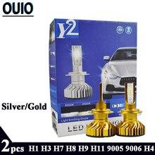 2PCS F2 Car Light Led Headlight Bulbs H1 H3 H4 H7 H8 H9 H11 H13 9005 9006 Silver Gold 8000LM 6000K 80W Fog Lights Auto Head Lamp