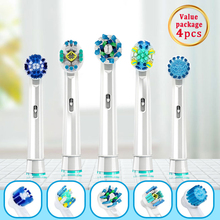 Oral B Electric Toothbrush Heads For Oral B Vitality Cross Action Advance Triumph 3D Excel Replaceable Brush Heads Refills 4pcs
