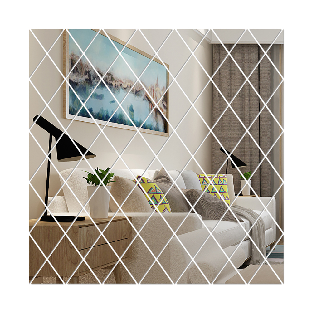 Diamond Spliced Mirror Stickers Self Adhesive Removable Acrylic Mirror Sheets Wall Decals For Home Art Room Bedroom Background