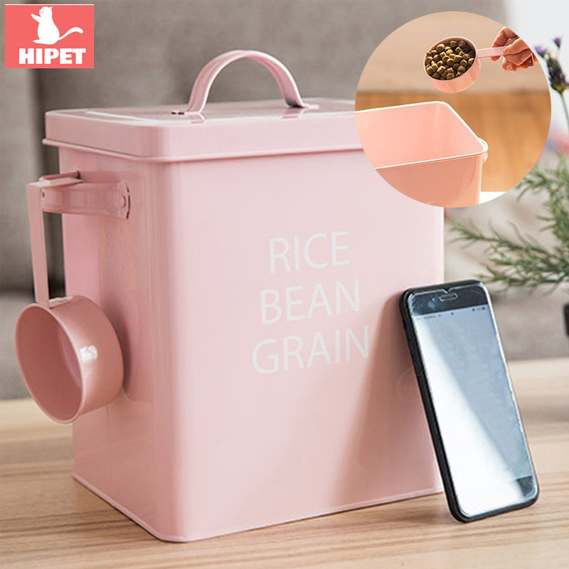 Dog Food Storage Box Pet Cat Food Container Creative Metal Portable Kitchen Food Grain Rice Container Dog Cat Food Bucket image