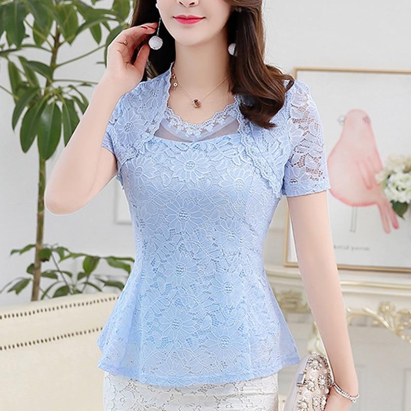 New 2019 Short-Sleeve Plus Size 8 Color M-4XL Summer Lace Shirt Women Tops Cutout Basic Female Elegant Lace Blouses Shirt 815G
