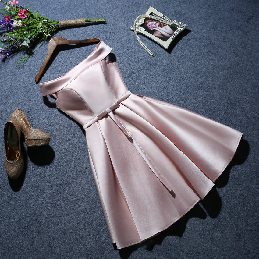 Women's Evening Dress Twill Satin Fabric Short Prom Dress Solid Color Off Shoulder White Sleeveless Formal Dress Ceremony Dress