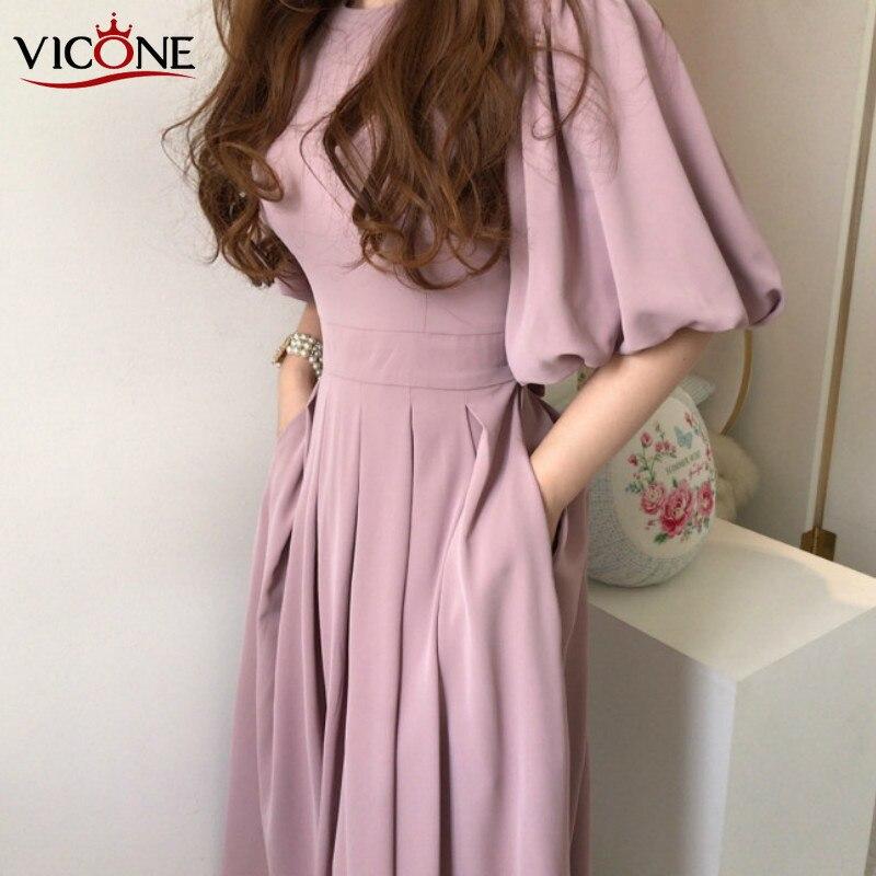 VICONE Chic And Elegant Strap Pleated Lantern Sleeve Long Dress