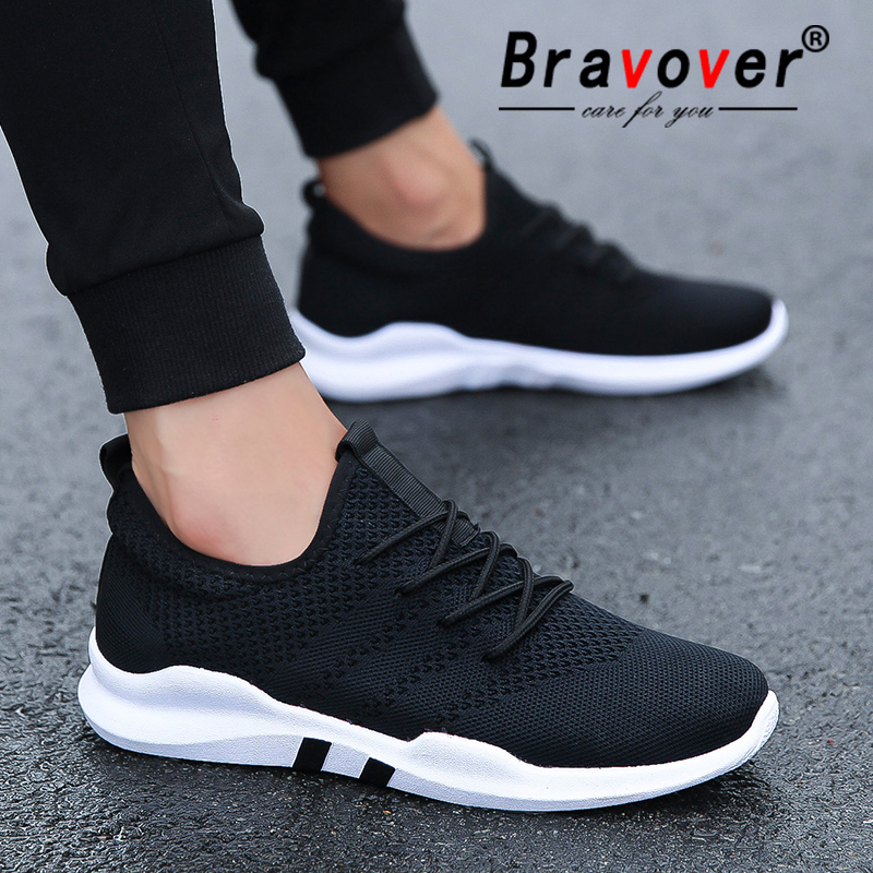 Bravover New Men's Outdoor Running Shoes Breathable Male Sneakers Adult Non-slip Comfortable Mesh Athletic Shoes 3 Colors